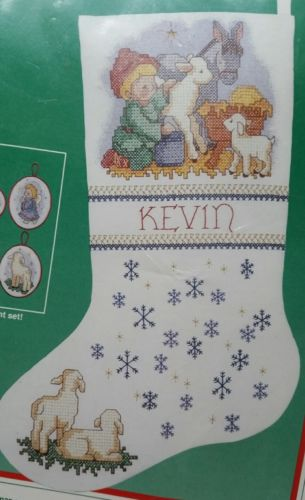 Littlest Drummer  Boy  Christmas Stamped Cross Stitch Stocking Kit Dimensions