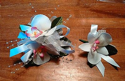 White Orchid White Satin Ribbon Wrist Corsage and Boutinniere Set