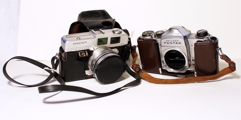 2 Vintage 35mm Cameras for Repair Heiland Pentax Body & Petri Racer Body w/Lens