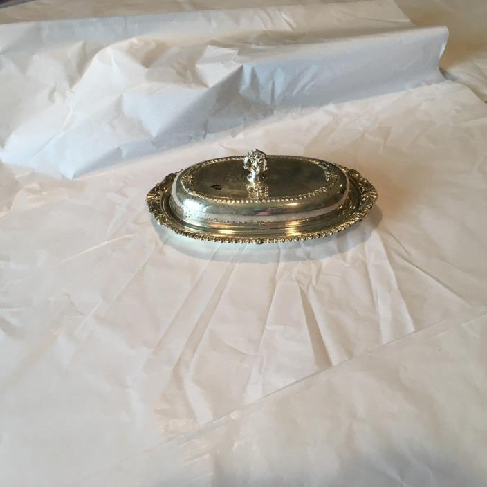 Vintage SHERIDAN Silver Plated Covered Butter Dish 8-3/4