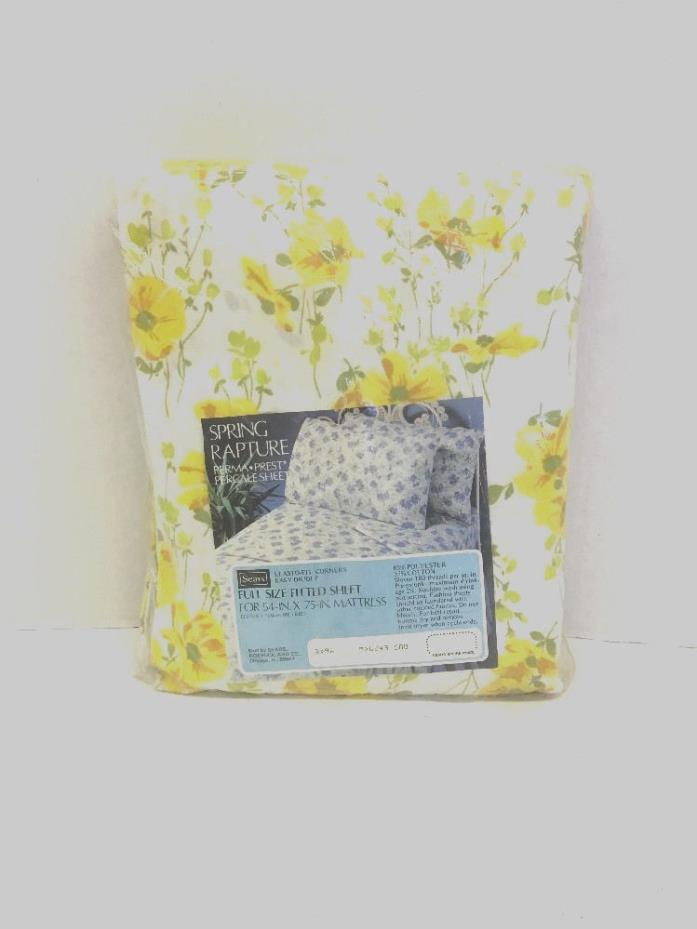 VINTAGE Bed Sheet / NIP / Yellow Floral / Cotton Percale / Full Fitted