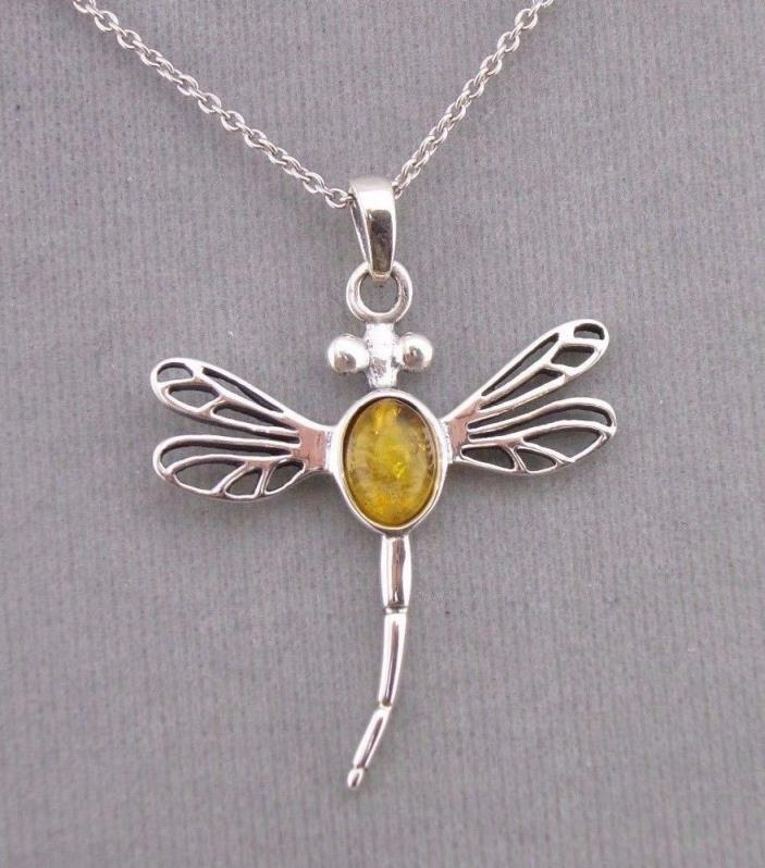 925 Sterling Silver and Amber Dragonfly Pendant Necklace Jewelry NEW