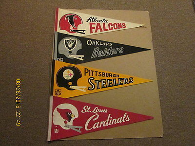 NFL Lot of 4 1970's 2 Bar Helmets Style #1 Pennants