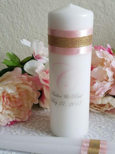 Personalized Blush and Gold Unity Candle Set, Custom Candle Set, Monogram Candle