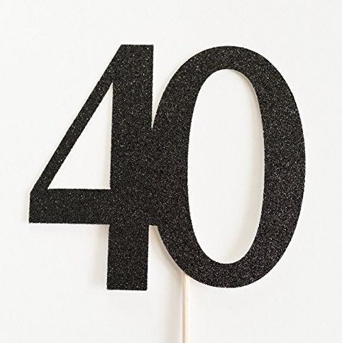 Black Glitter 40 Cake Topper, 40th Anniversary, fourtieth Birthday, fourty