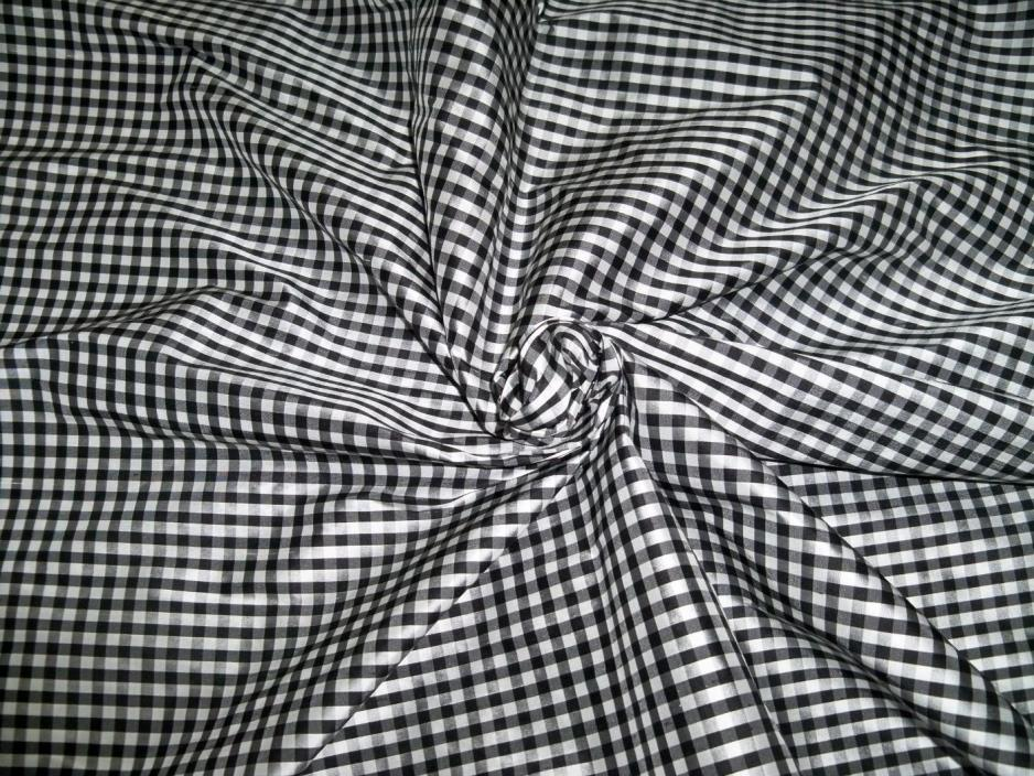 TAPESTRIA FRENCH COUNTRY GINGHAM CHECK SILK FABRIC 3 YARD REMNANT BLACK WHITE