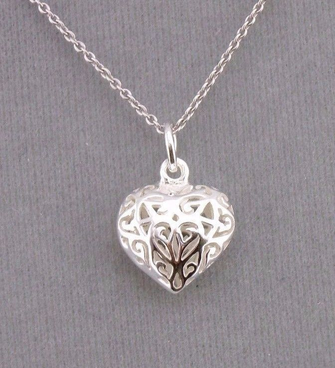 925 Sterling Silver Openwork Filigree Heart Pendant Necklace Jewelry NEW
