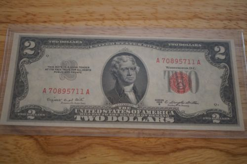 1953 B $2 Dollar Bill Uncirculated Red Seal