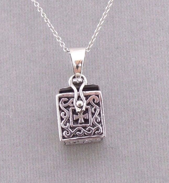 925 Sterling Silver Prayer Box Locket Necklace Faith Hope Jewelry NEW