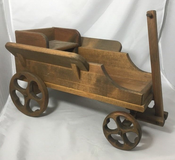 Richard Larson Wooden Mini Wagon with Seat Hand Made Signed