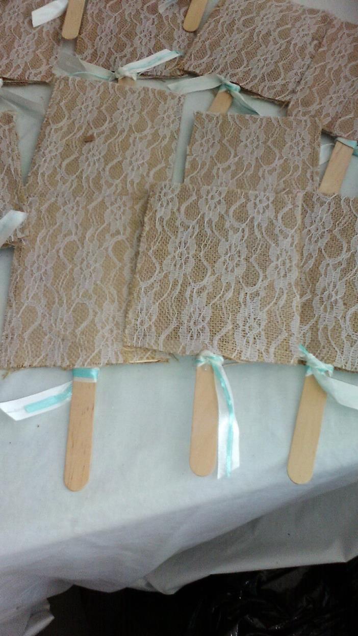 Burlap Fans Wedding Handmade Rustic