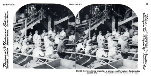 Underwood Stereograph View Card Industry Picking Slate Coal Mining 11258 Repro