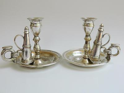 Antique silverplated brass pair of chambersticks candlesticks w snuffer vtg