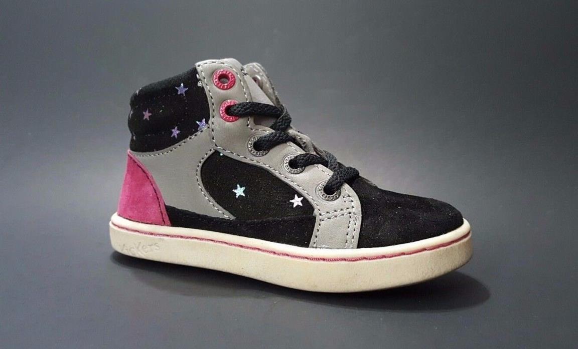 Regular Price $80 KICKERS Toddler Girls LEATHER Shoes Black Size 7 USA/23 EURO