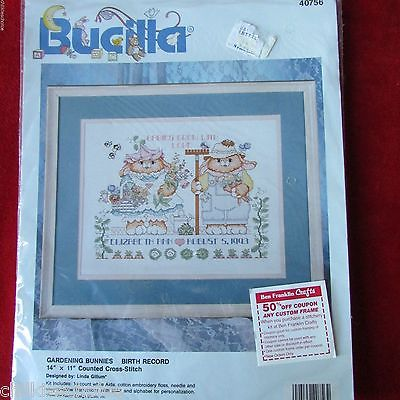 1993 Gardening Bunnies Birth Record Counted Cross Stitch Kit NIP