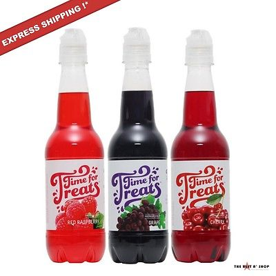 3 Pack Snow Cone Syrup Bottle Shaved Ice Flavor Mix Slushies Party Punch 16.9 oz