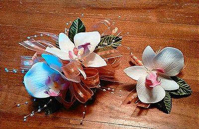 White Orchid Peach Ribbon Wrist Corsgae amd Boutonniere Set