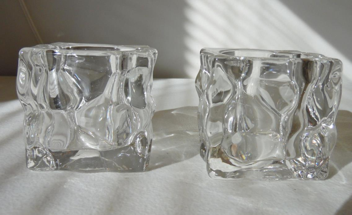 Set of 2 PartyLite Crystal Clear Square Votive Candle Holders Ice Cube Look