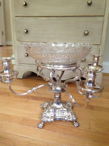 Vintage Sheffield Silverplate Fruit Bowl Epergne Centerpiece Candelabra England