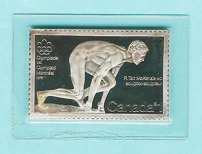 1976 Olympics Canada Post $1 Stamp 999 Pure Silver Bar 15.55g 1/2 oz sealed