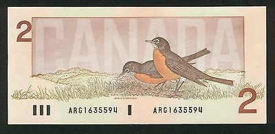 1986 Bank of Canada $2 Bank note - Crow Bouey - Prefix ARG 1635594