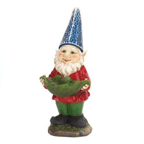 Bird Feeder Gnome Solar Statue with Light at Night Charming Path and Garden New