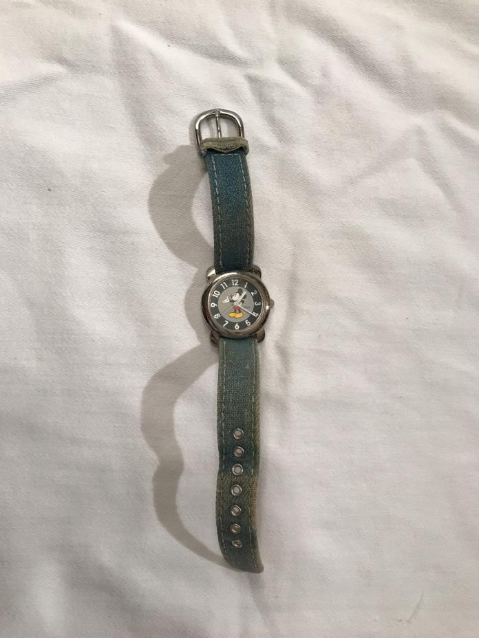 Vintage Disney TIME WORKS Mickey Mouse Watch Denim Band