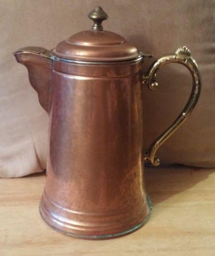 Antique Rome Metal Ware Copper Coffee Pot Brass Handle Vintage Kitchen Signed