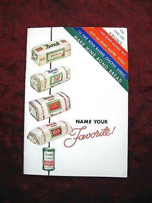 1935 vintage BOND BREAD Recipe Booklet~NAME YOUR FAVORITE
