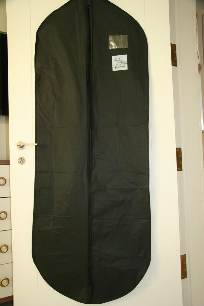 Saks Fifth Avenue Garment Bag Dress Suit Bag Black Vinyl 54 X 23 1/2
