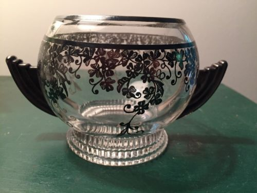 VINTAGE ART DECO GLASS OPEN SUGAR BOWL W STERLING SILVER OVERLAY