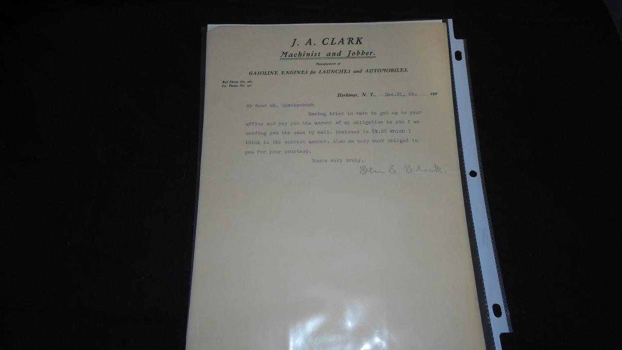 JA CLARK GASOLINE ENGINES HERKIMER NY 12 /21 1908 TO H.M. QUACKENBUSH EPHEMERA