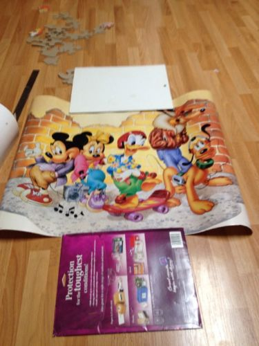 Vintage 1987 Disney Mickey Minnie Mouse Pluto Donald Duck Poster