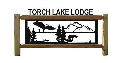 BALD EAGLES-BEARS-GRIZZLY BEAR SIGN-WILDLIFE SIGNS-RUSTIC LOG DECOR #E15404