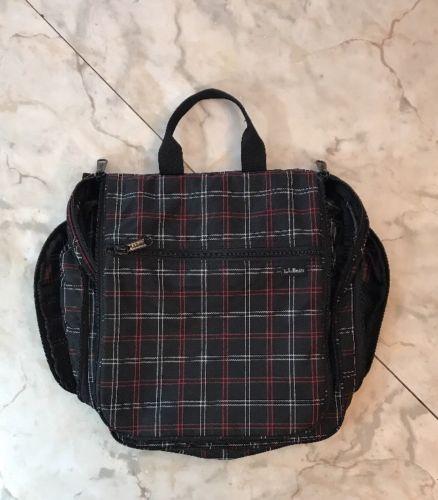 LL Bean Travel Toiletry Bag Plaid Hanging Makeup Case Red Black White Plaid EUC