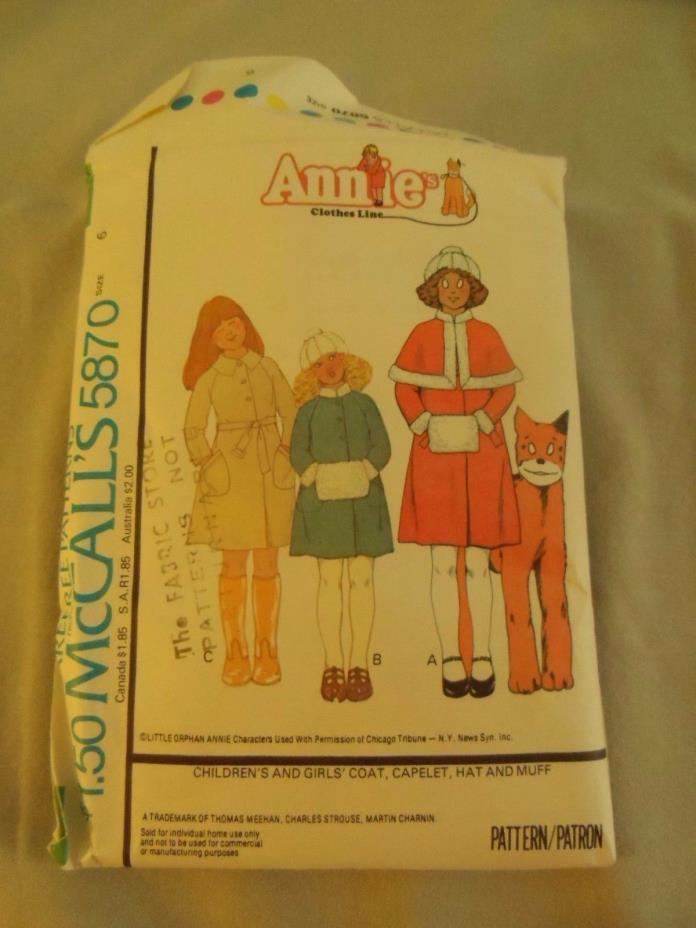 McCalls ANNIE Dress Sewing Pattern #5870 size 6 Costume - Halloween