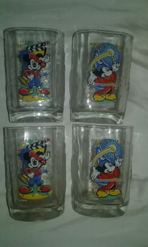 NEW McDonalds Disney Mickey Mouse -100 Years of Magic Glasses-Set of 4 /2 of ea