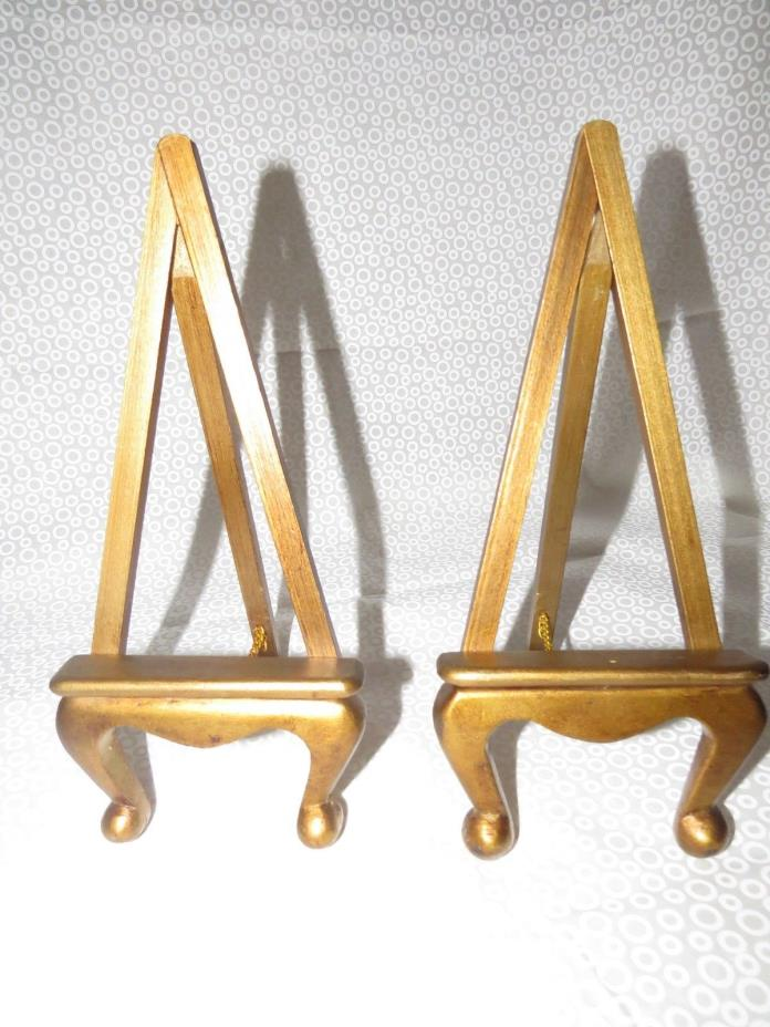 Pair Small Vintage Gold Wood Tole Easel's Display Picture Plate Mirror Book