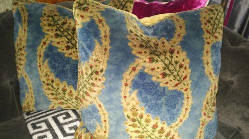 Pair Scalamandre Blue Cut Velvet Down Throw Pillows