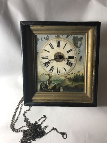 Old Wall Clock Painting Broken Not Working Glass Painting