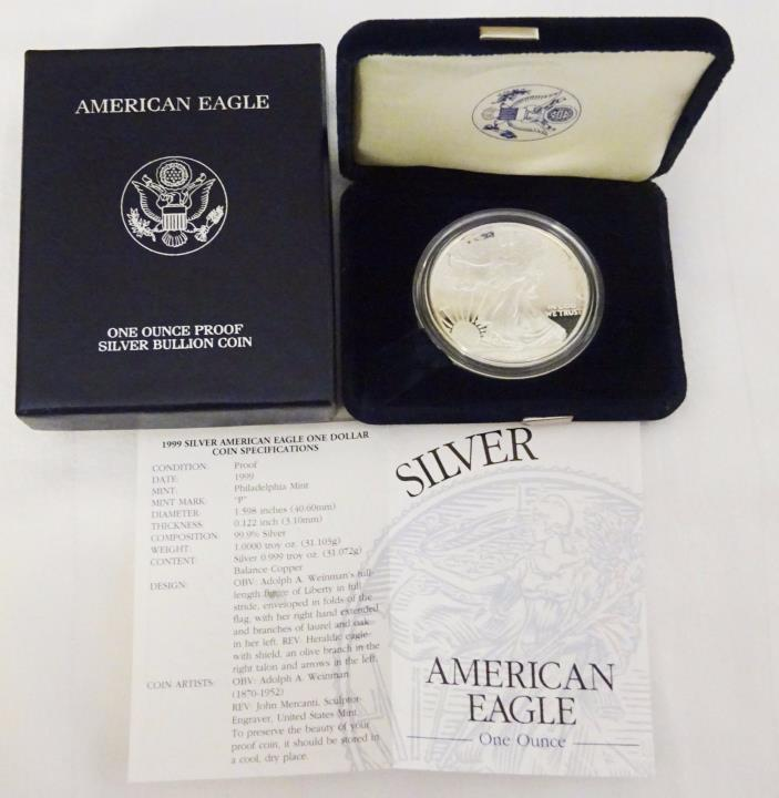 1999 SILVER AMERICAN EAGLE WITH BOX AND COA FREE SHIPPING!