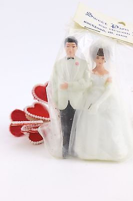 Vtg Wedding Cake Topper Decoration Bride Groom Man Woman White Organza Dress LOT