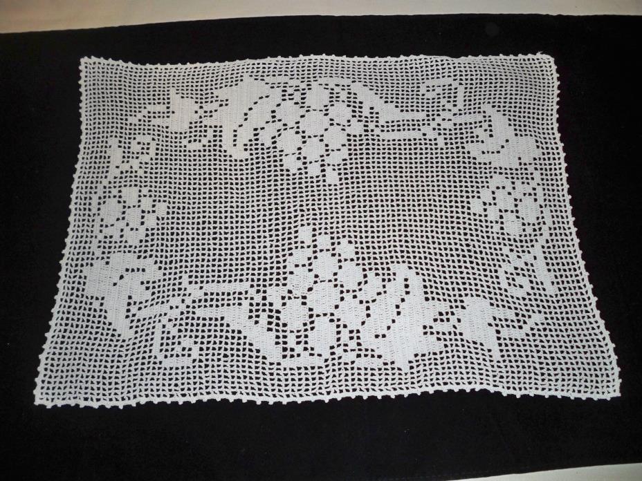 Vintage Doilie Lace Crochet 12 x 16 inch grapes