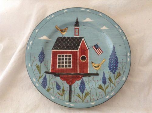 Sakura Stoneware Warren Kimble Birdhouse RED SCHOOL HOUSE  Salad  Plate 8-1/4