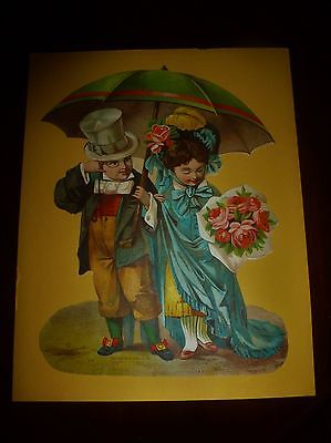 ANTIQUE 1883 EMBOSSED DIE CUT LADY MAN UMBRELLA ROSES TOP HAT BONNET LARGE NICE
