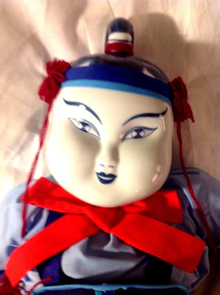 Asian Japanese Doll Blue and White Hand Painted Porcelain Head Doll Vintage
