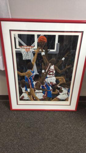 RARE Artist Rick Rush Auto Framed Print of Michael Jordan 1990 Bulls vs Pistons