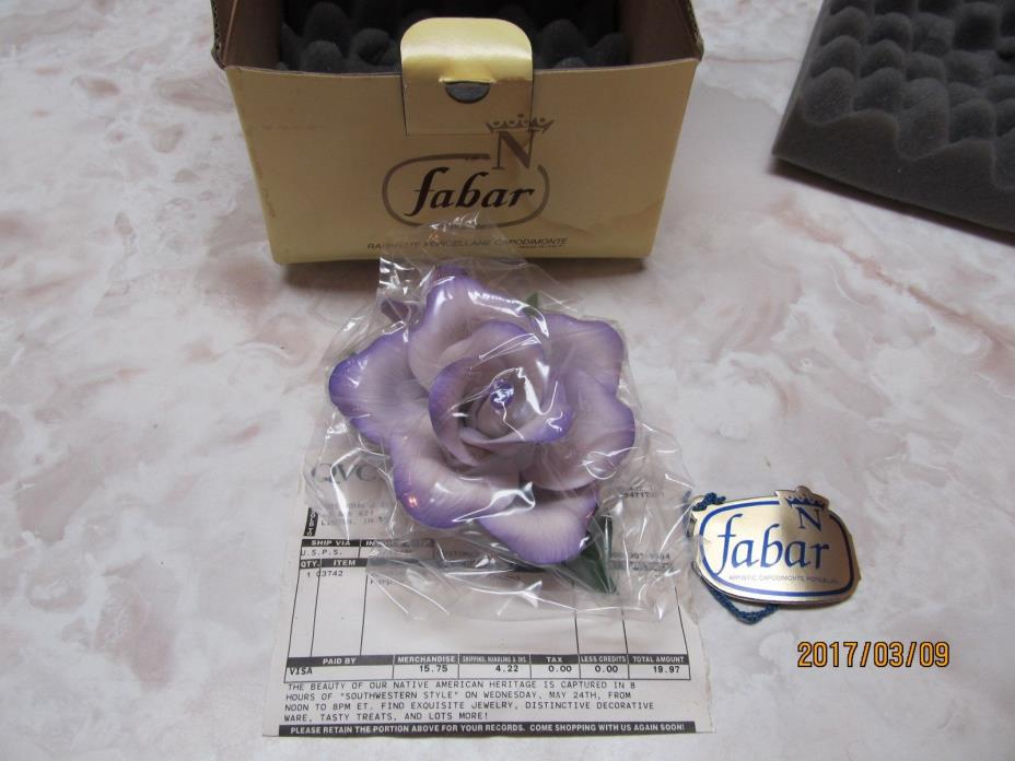 CAPODIMONTE FABAR ITALY LAVENDER ROSE on Green LEAVES  NIB