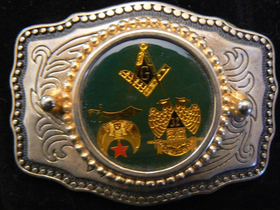 Vintage Mason Masonic Belt Buckle MADE IN USA FREE US SHIP