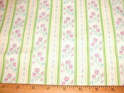 Ticking Stripe Quilt Fabric Floral Flowers Green Stripes BTY